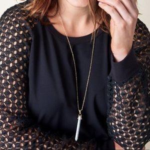 Stella & Dot Jewelry - Stella & Dot White & Gold Stone Rebel Pendant